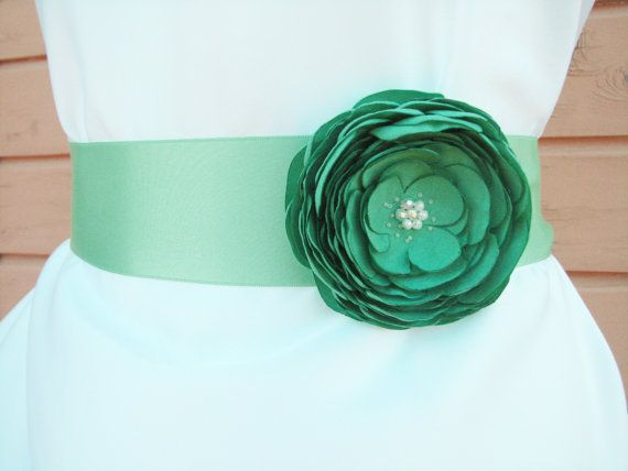 Wedding sash belt teal green Sash with flower by AijasFlowers, $28.00