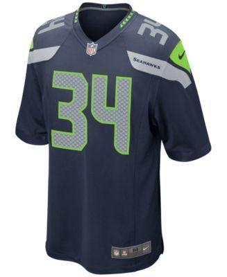 Nike Men's Thomas Rawls Seattle Seahawks Game Jersey - Blue XXL