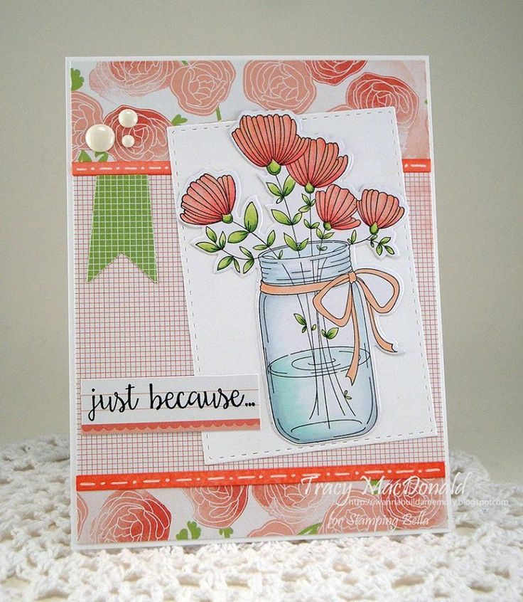 Spotlight On: May Stamp of the Month – Mason Jar of Flowers   stamping bella. Case with CTMH Hello Lovely