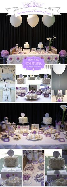 Mesa dulce para una comunión y bautizo en blanco y lavanda. Dessert Table First Communion and Baptism white & lavender