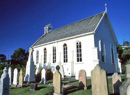"""Christ Church, Russell, Bay of Islands, New Zealand. First church built in NZ. Survived several attacks, and was paid for by donations from the likes of Charles Darwin amongst many others to provide the first formal religious services to the """"hell hole"""" of the Pacific."""