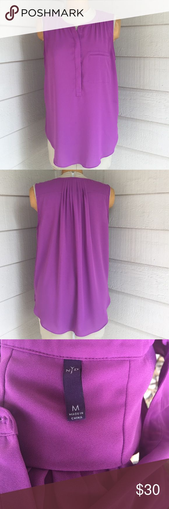 NYDJ not your daughters jeans Medium purple tank Nordstrom not your mothers jeans medium sleeveless pleated back tank top chiffon blouse NYDJ Tops Blouses
