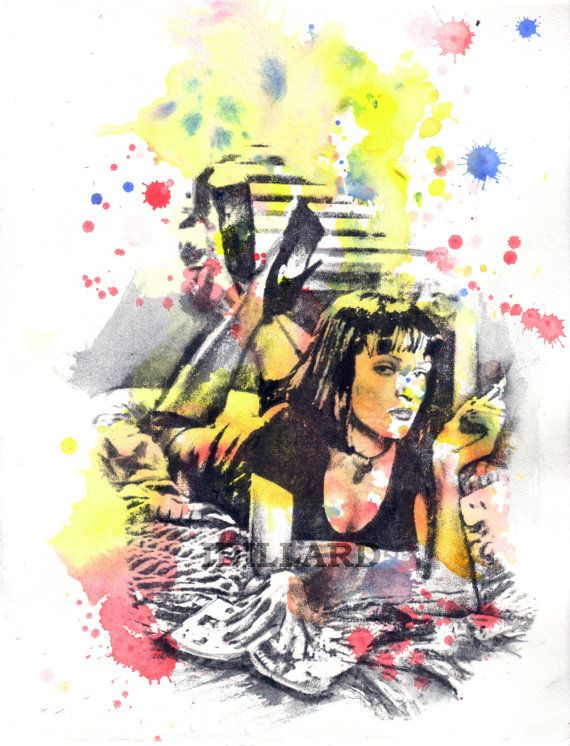 Portrait Painting of Mia Wallace From Pulp Fiction Watercolor Painting Art Print -  8 X 10 in Fine Art Print Movie Poster Pop Art