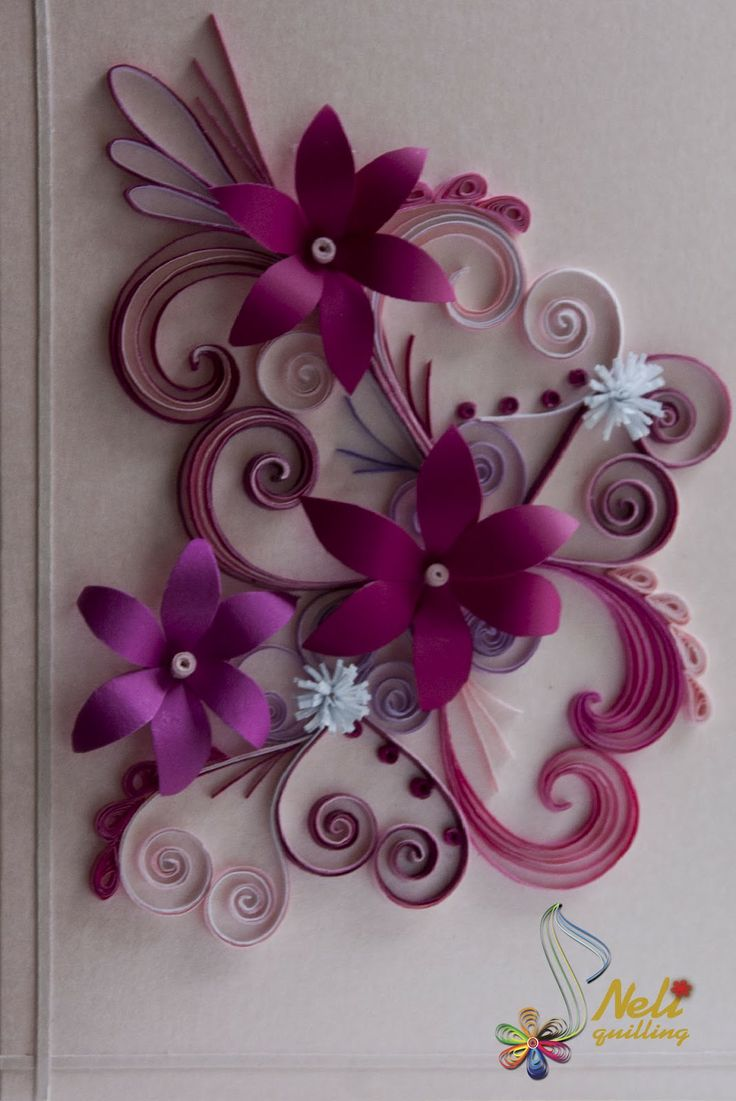 Card Quilling Purple Flowers
