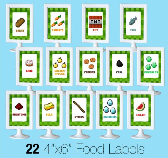 Minecraft Food Labels Party DIY Printable By