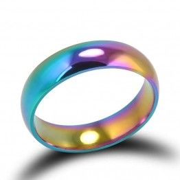 Fashion Rainbow Colorful  Titanium Steel Wedding Ring