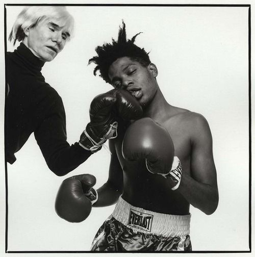 Knock Out Punch, Andy Warhol & Jean-Michel Basquiat Studio, New York July 10, 1985  Silver Print Silver Gelatin Print Signed, titled, dated, and numbered on verso Photograph by Michael Halsband