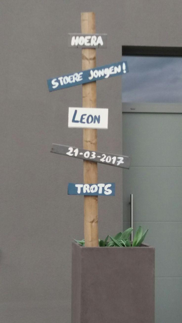 Welkombord bij thuiskomst Leon