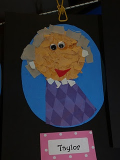 Portraits - I like the torn paper. I usually paint circles and crumple them. This would involve the kids more.