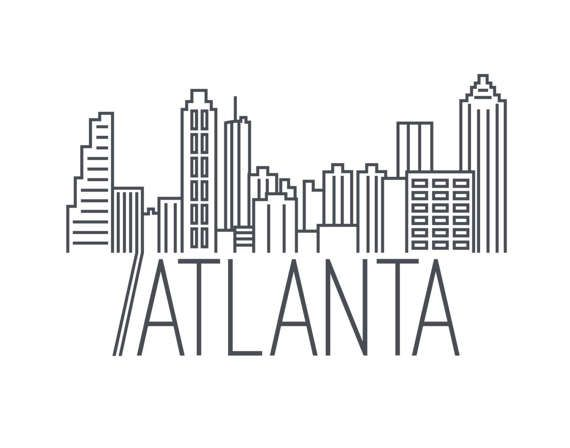 Minimalist Atlanta Skyline Print by SpeakEasyDigitalArt on Etsy