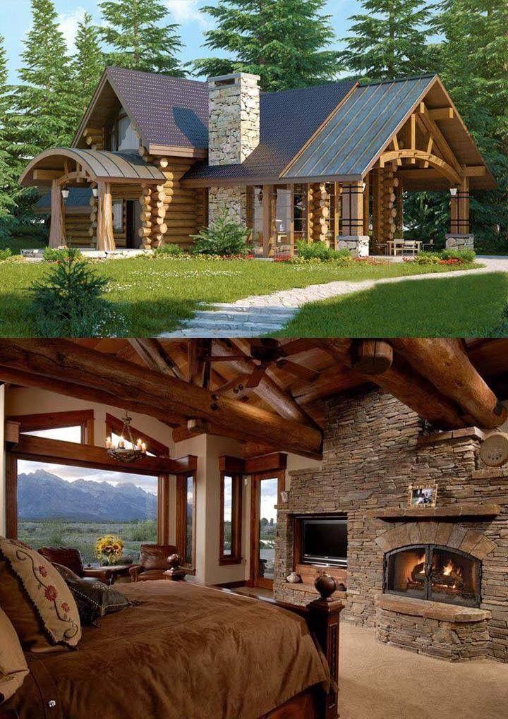 Wood and stone – #logcabins #stone #wood
