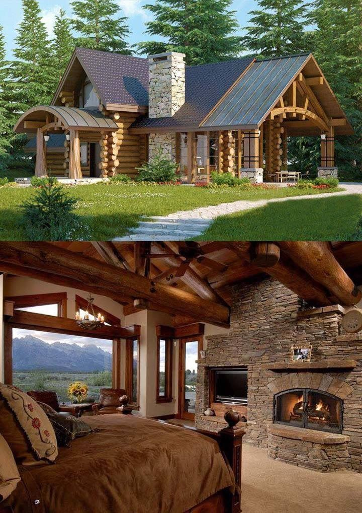 Wood and stone – #logcabins #Stone #wood