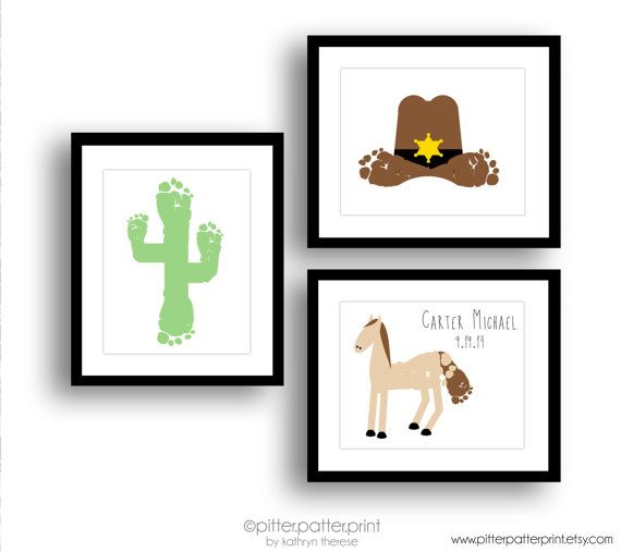 Western Nursery Art Print Set, Baby Footprint Art, Cowboy Hat, Horse, Cactus, Baby Boy Nursery, Boys Rooms Decor, Wild West, Southwest