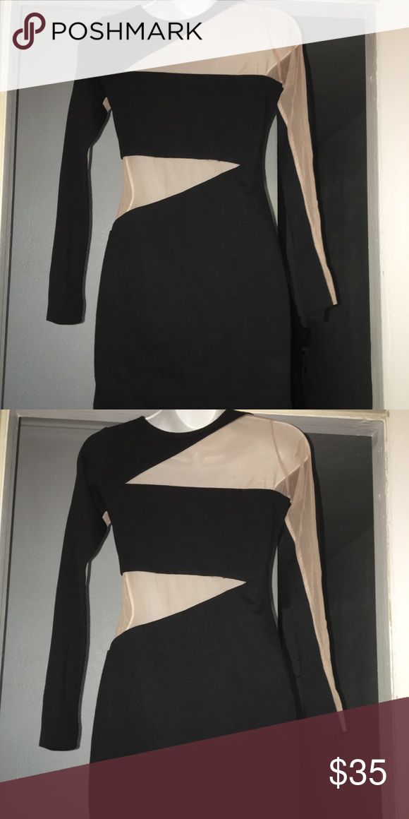 AQAQ Black & Nude Bodycon Dress Sz 4 UK8 AQAQ Black & Nude Bodycon Dress Sz 4 UK8. Lovely and unique AQAQ dress. It has a peekaboo effect with the contrast of the mesh in the dress.   There are one or two spots where the stitching it starting to come undone, but a needle and thread will take care of that for you.  🚫No Trades🚫 unless indicated ⚡️Lightening Fast Shipping⚡️ ✅Offers entertained via the offer button✅ AQ/AQ Dresses Mini