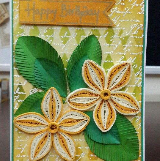 Distress inking, heat embossing and quilling all in one!