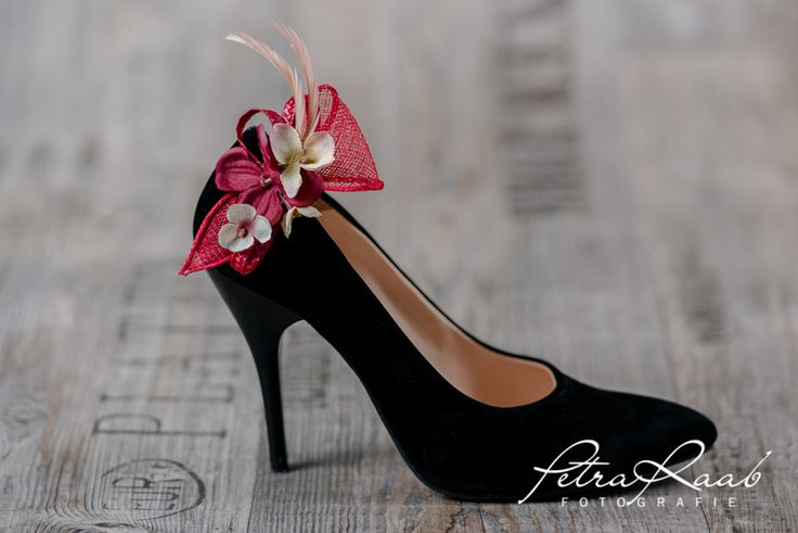 Schuhclips - Schuhclips  2 Clips dunkel rot Braut Schuhe BS2 - ein Designerstück von Perle-Wismer bei DaWanda