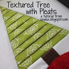 Sew Lux Fabric : Blog: Tutorial: Textured Tree with Pleats Would be great on a tree skirt