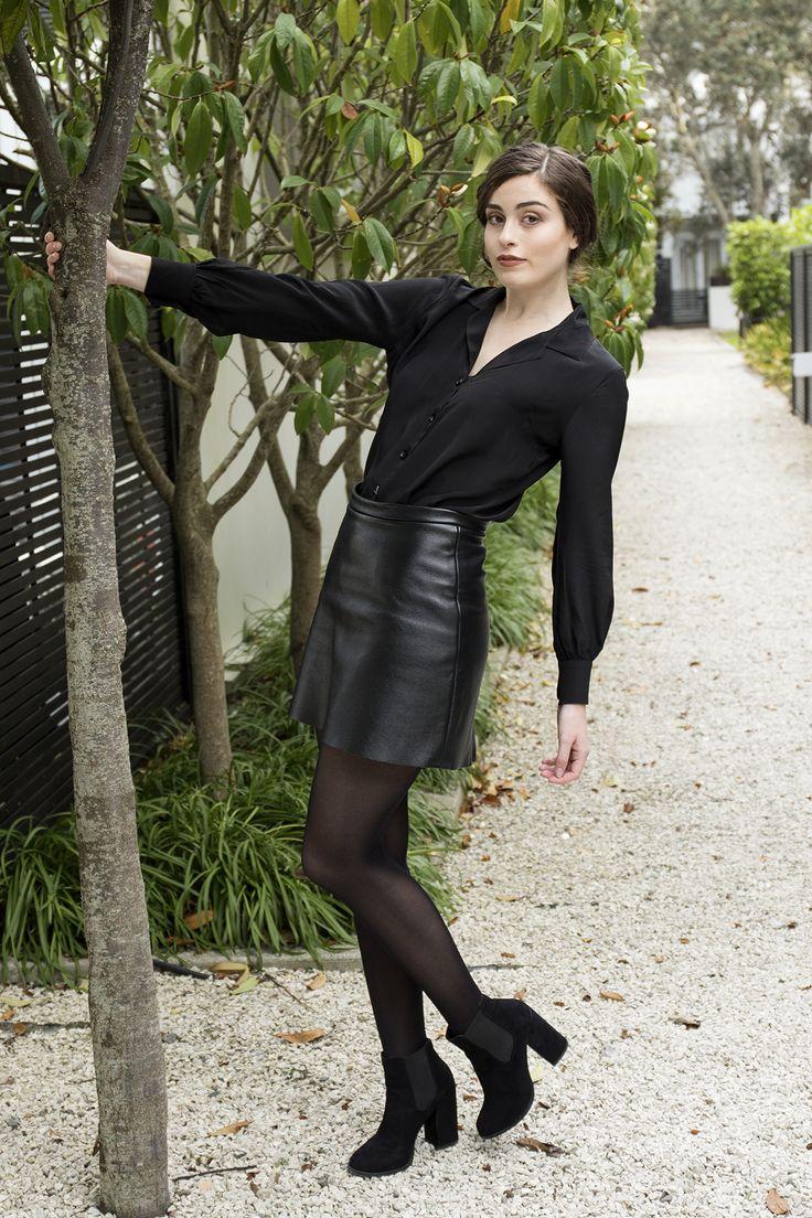 Misty Lang black silk shirt, black leather skirt, genuine leather.  www.mistylang.com