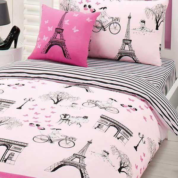 Pink Paris Bedding   ... Quilt Covers - Single - Kids Paris Armour Single Quit Cover Set - Pink