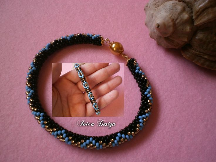 "Blue ""Diamonds"" bead crochet bracelet <3 Find my bead dreams on: https://www.facebook.com/IvicaDesign/"