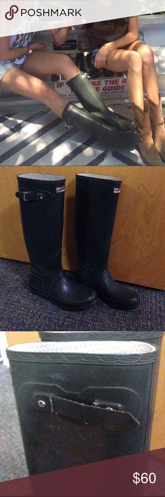 Matte green tall Hunter rain boots Under the knee tall Hunter rain boots in a medium - dark green. Worn but in good shape, see photographs. Hunter Shoes Winter & Rain Boots