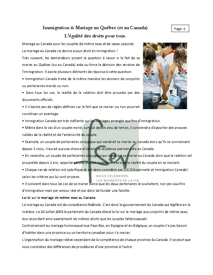 Immigration & Mariage au Québec (et au Canada) L'égalité des droits pour tous-page 1