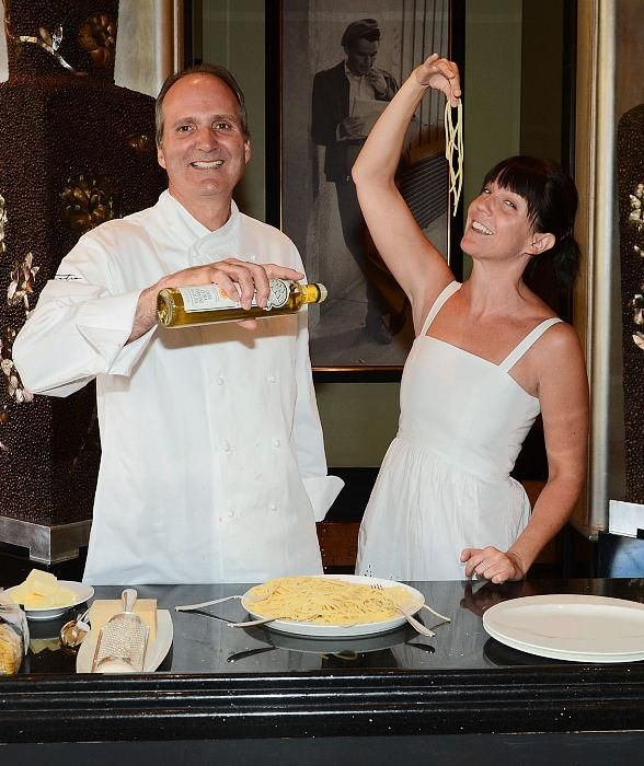 Sinatra Executive Chef Theo Schoenegger and Sinatra's Granddaughter A.J. Lambert Lead an Cooking Class in Sinatra Restaurant at Wynn Las Vegas  (Photo credit: Denise Truscello / WireImage)