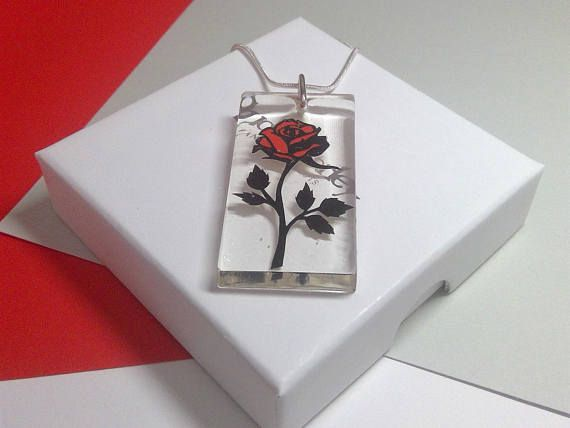 SALE Imperfect Beauty and the Beast Rose Resin Papercut