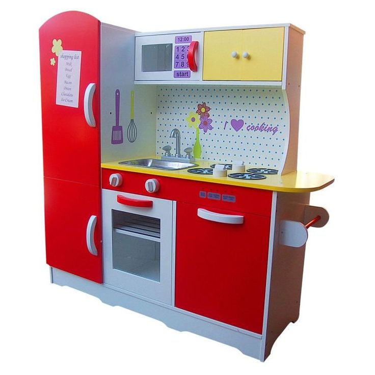 Kids Wooden Pretend Play Kitchen in Red and White | Buy Play Kitchens
