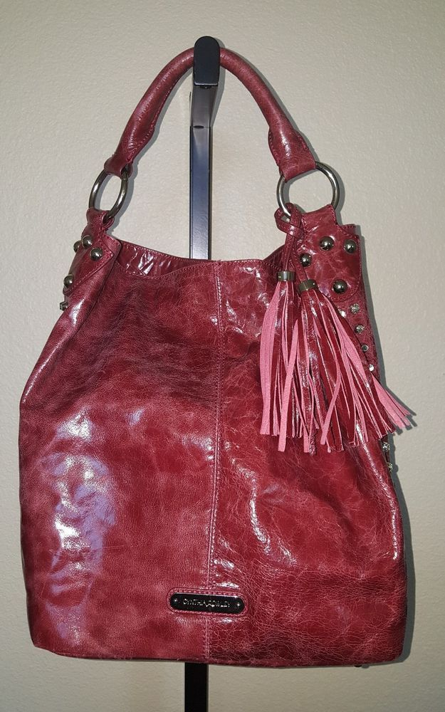 Cynthia Rowley Red Distress Leather Hobo bag / Silver Studs and Leather Tassels    Clothing, Shoes & Accessories, Women's Handbags & Bags, Handbags & Purses   eBay!