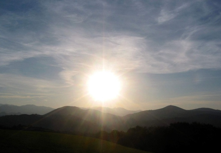 Coucher de soleil sur la montagne