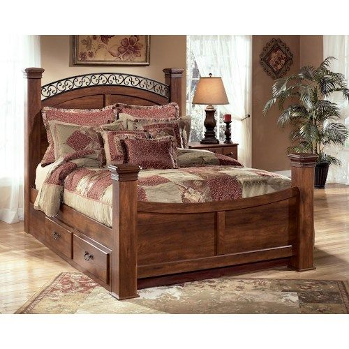 Timberline Sleigh Bedroom Set Signature Design: Timberline Queen Poster Bed With Underbed Storage By