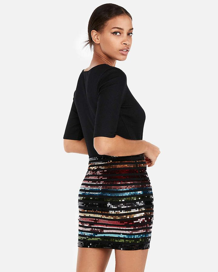 6864eb1dd Express High Waisted Double Stripe Sequin Mini Skirt Sequin Mini Skirts,  Sequin Skirt, Cotton