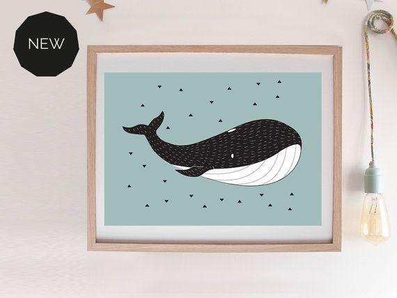 """Affiche pour enfants """"BALEINE"""" idéal chambre de bébé. Cadeau de naissance - décoration chambre"""