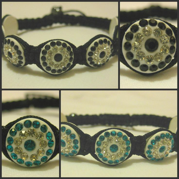 Black or Turquoise and White Crystal Coin Shaped
