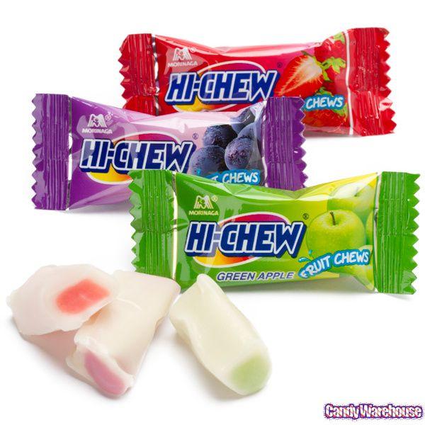Yummiest candy ever. Softer than taffy, but slightly harder than a gummy bear.