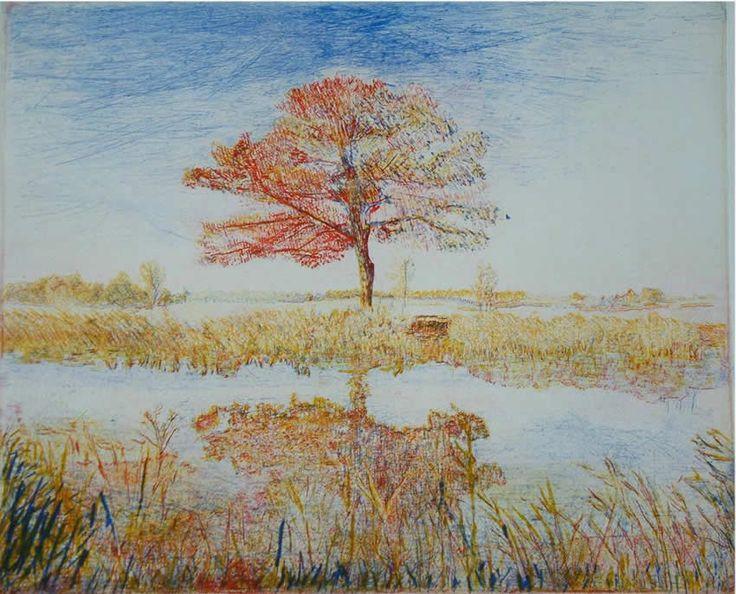 landschap driekleuren ets, lijnets, driekleurendruk op papier, 31 x 25cm.