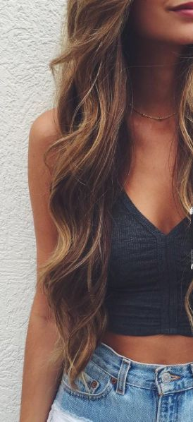 browm hair with caramel highlights