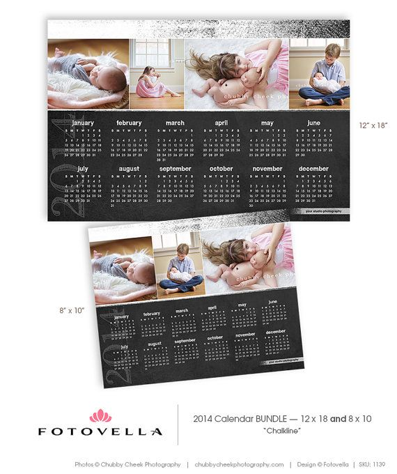 """""""Chalkline"""" 2014 Photoshop Calendar Template Bundle  8x10 and 12x18 by FOTOVELLA / Featured images © Chubby Cheek Photography"""