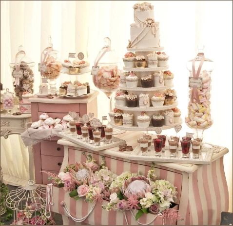 This wedding cake table uses dressers painted with white and pink stripes.  Uses picture frames as serving platters, filled with candy jars and pastel flowers.