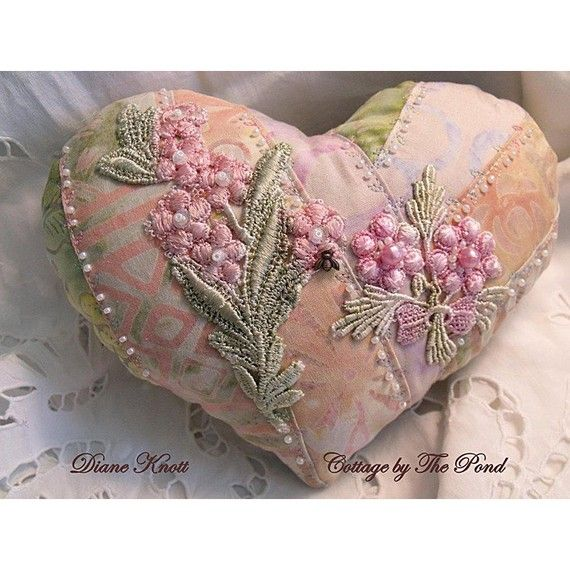 I ❤ crazy quilting . . . Stunning Heart Sachet Pin Cushion- Diane Knott, Cottage by the Pond. . .