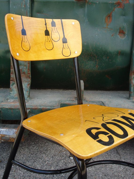Lightbulb Wooden School Chair by Hopscotch Road by HopscotchRoad, $195.00