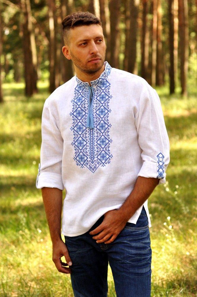Вишиванка чоловіча. Модель М01 2-213 Вишита чоловіча сорочка зі стійкою і  довгим 30317ff8822b6
