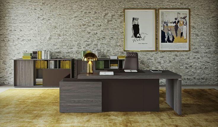 Collection SESSANTA avec bureau droit et armoires basses de rangement