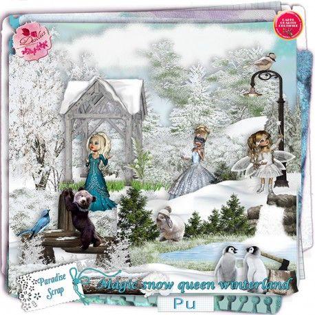 Magic Snow Queen in Winterland by Desclics  Available @ http://www.paradisescrap.com/fr/376-desclics