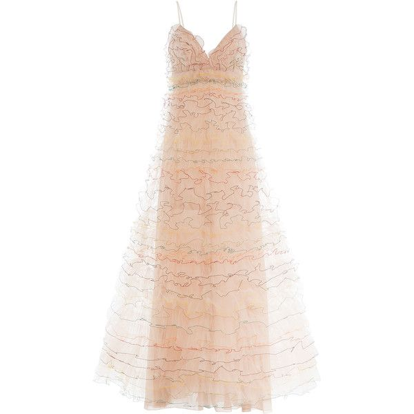 Valentino Floor Length Gown (€12.760) ❤ liked on Polyvore featuring dresses, gowns, rose, see through dress, valentino gown, tulle gown, pink dress and pink ruffle dress