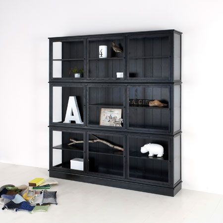 Glass cabinet 187 cm, black - Adult | Oliver Furniture