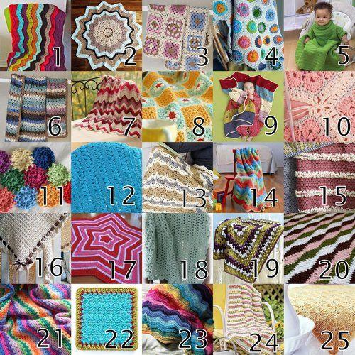 25 free crochet blanket tutorials: Crochet Blankets Patterns, Crochet Afghans, Afghans Patterns, 25 Crochet, Free Crochet, Crochet Blanket Patterns, Baby Blankets, 25 Free, Crochet Patterns