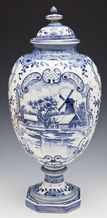 Royal Bonn Delft Porcelain Urn : Lot 887