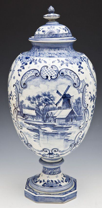 Royal Bonn Delft Porcelain Urn : Lot 887